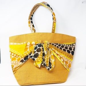 Yellow Woven 🌺Burlap Scarf Tote